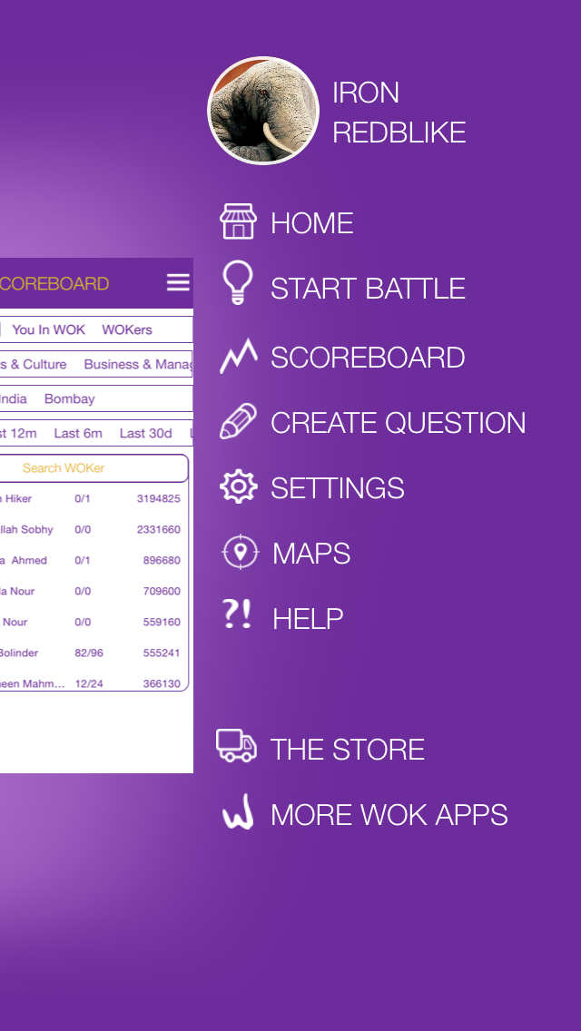 In Quiz King you can navigate around in the menu