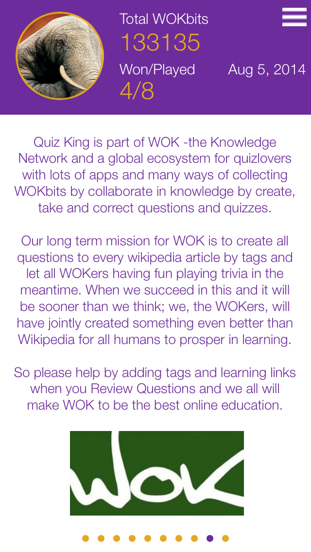 Quiz King is part of WOK